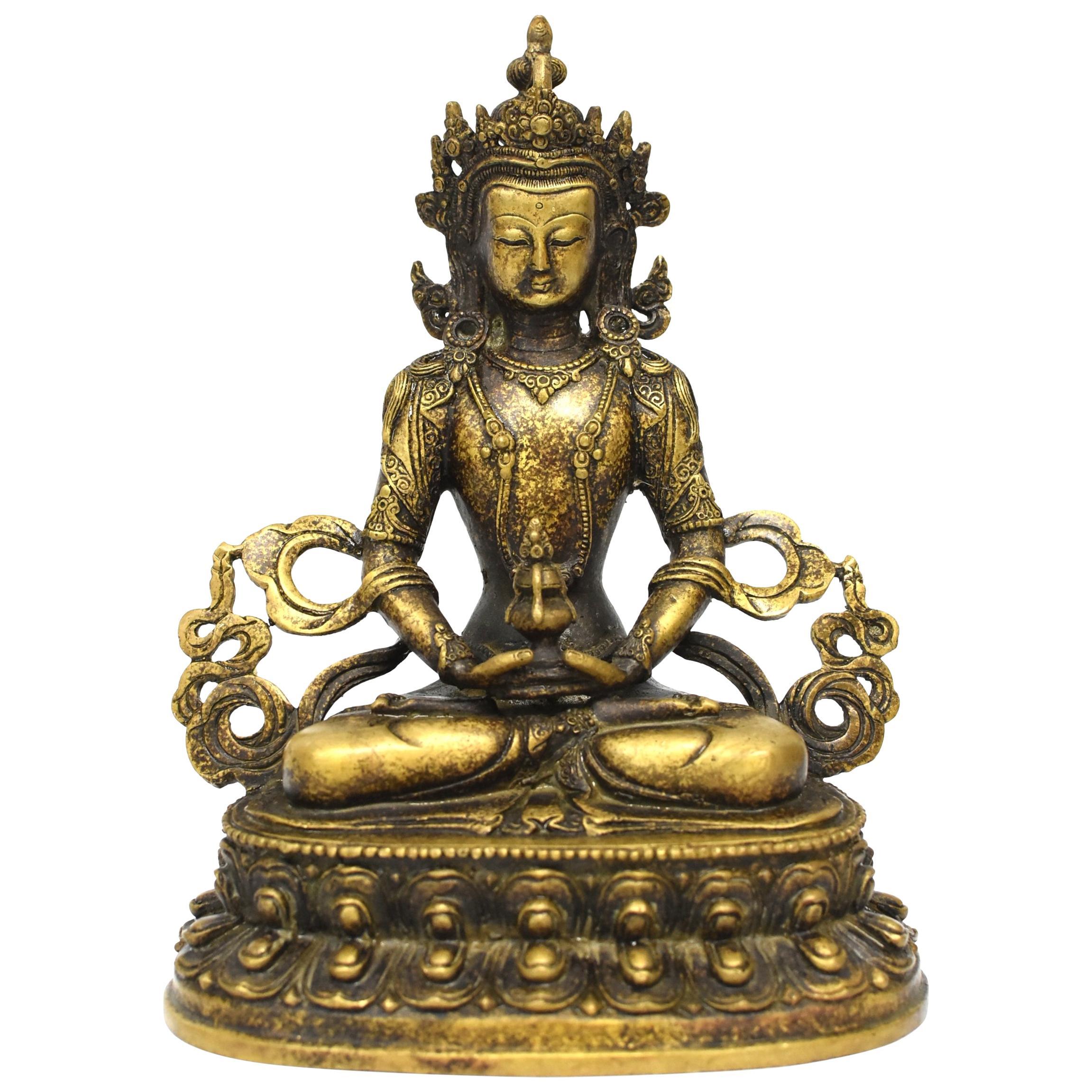 Tibetan Amitayus Buddha for Immortality Mottled Gold Finish