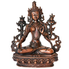 Bronze Tibetan White Tara, Copper Finish