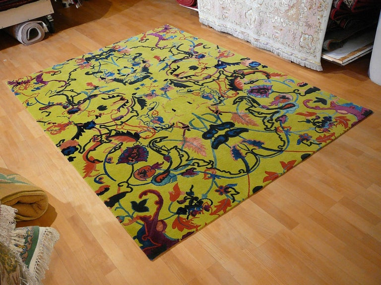 Hand-Knotted Tibetan Wool and Silk Rug Custom made up Green Lilac, Blue  For Sale