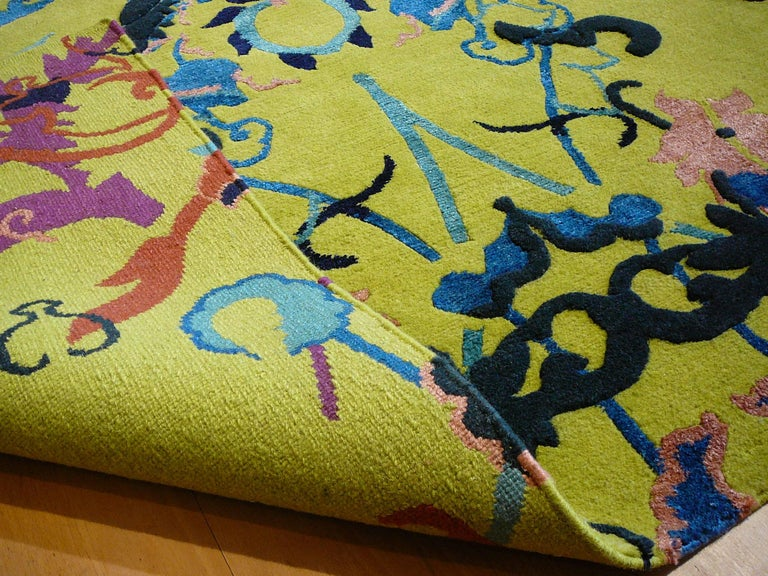 Contemporary Tibetan Wool and Silk Rug Custom made up Green Lilac, Blue  For Sale
