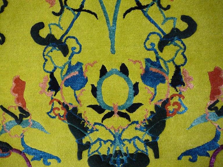 Tibetan Wool and Silk Rug Custom made up Green Lilac, Blue  For Sale 1