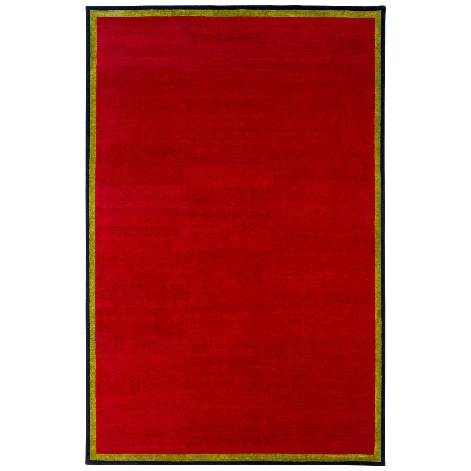 Tibetan Wool Rug with Silk Double Border by Carini