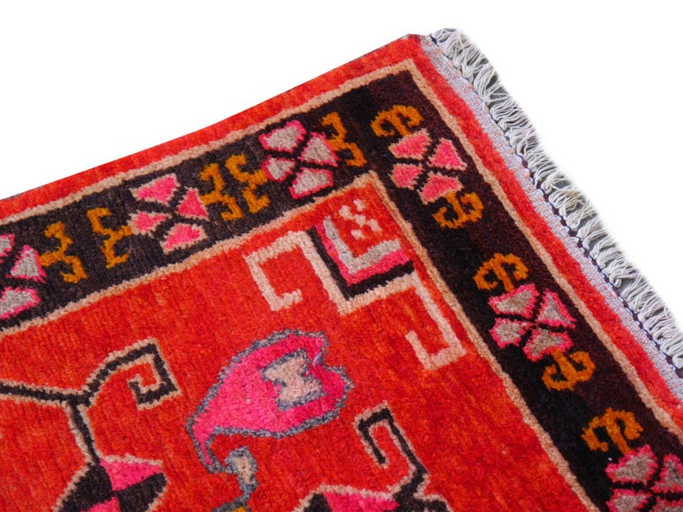 Vintage hand knotted Tibetan meditation rug  This beautiful Tibetan rug was hand knotted using hand spun Tibetan highland wool - one of the finest wools available from sheep living above 9000 ft altitude. The size of the rug is traditional - these