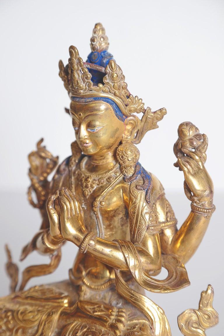 Tibetian Buddhist Deity Chenrezig 'Four-Armed Avalokiteshvara' For Sale 2