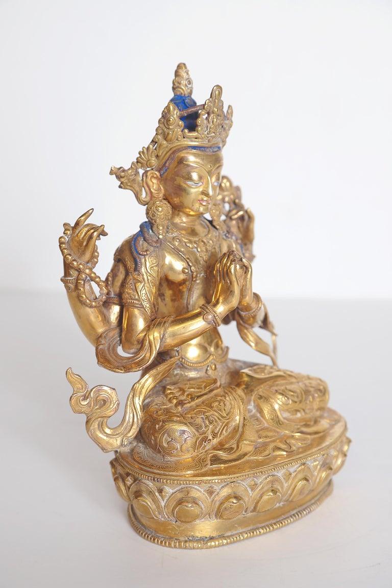 Brass Tibetian Buddhist Deity Chenrezig 'Four-Armed Avalokiteshvara' For Sale