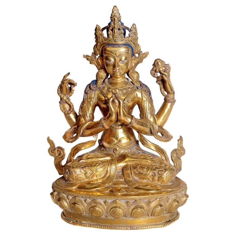 Tibetian Buddhist Deity Chenrezig 'Four-Armed Avalokiteshvara' For Sale