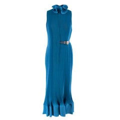 Tibi Blue Pleated Sleeveless Dress With Removable Belt  XS