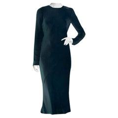 Tibi Dark Blue Midi Silk Dress with Sheer Back - Size US 4