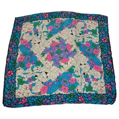 Tibi Wonderfully Whimsical Shades of Turquoise & Popping Pinks Floral Silk Scarf