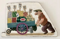 Oil Painting Man, Grocery Cart by Famed Childrens Book Illustrator Tibor Gergely