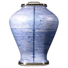 Tibor Oval Platino Azul Cerámic and White Metal 'Alpaca'