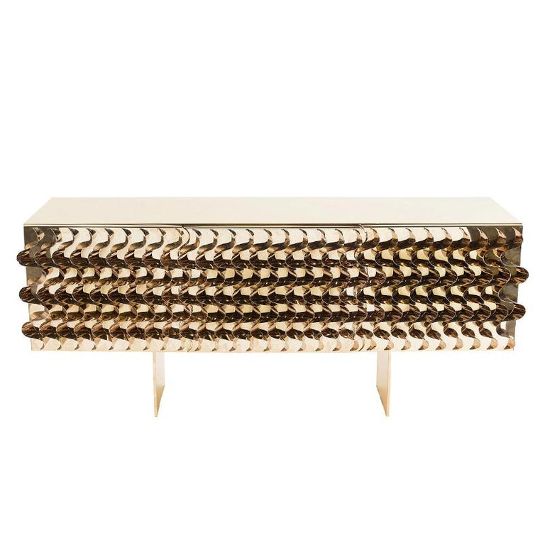 Tide Gold Sideboard In Gold Finish For Sale At 1stdibs