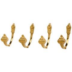 Tie-Backs Set of Four, 24-Carat Gold Plating
