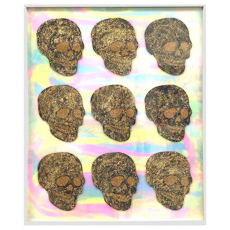 "Ray Geary ""Tie Die Gold Skulls"" Artpiece For Sale"