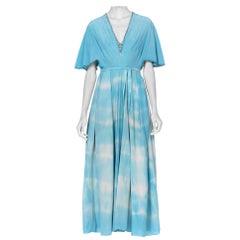 1920'S Blue Tie Dyed Silk Crepe De Chine Kaftan