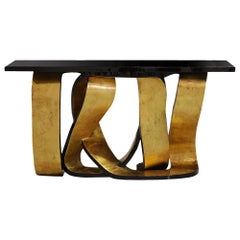 Tie Gold Console Table with Black Lacquered Wood Veneered Top