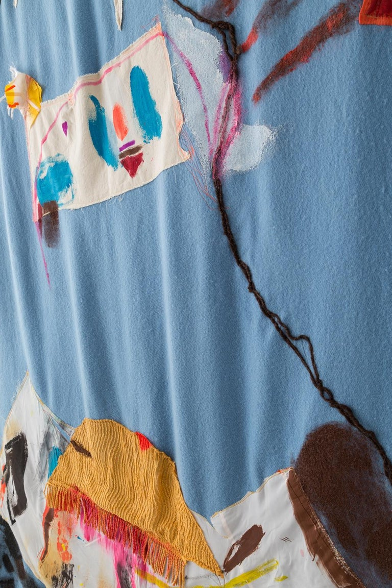 Hand-Crafted 'Tie Up the Comfort Boat, II' Quilt Painting Wool Tapestry Textile Art, in Stock For Sale