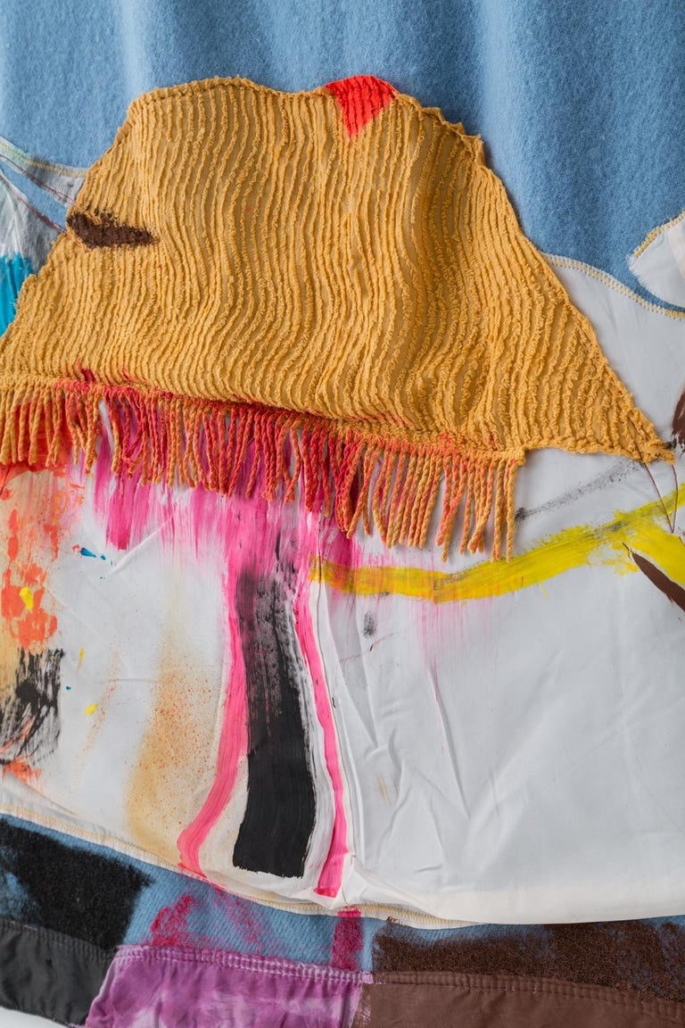 Contemporary 'Tie Up the Comfort Boat, II' Quilt Painting Wool Tapestry Textile Art, in Stock For Sale