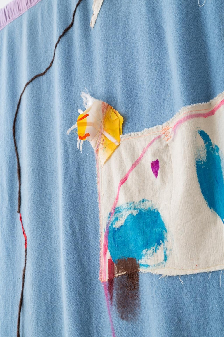 'Tie Up the Comfort Boat, II' Quilt Painting Wool Tapestry Textile Art, in Stock For Sale 2