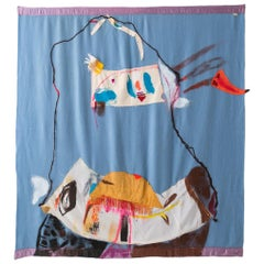 'Tie Up the Comfort Boat, II' Quilt Painting Wool Tapestry Textile Art, in Stock