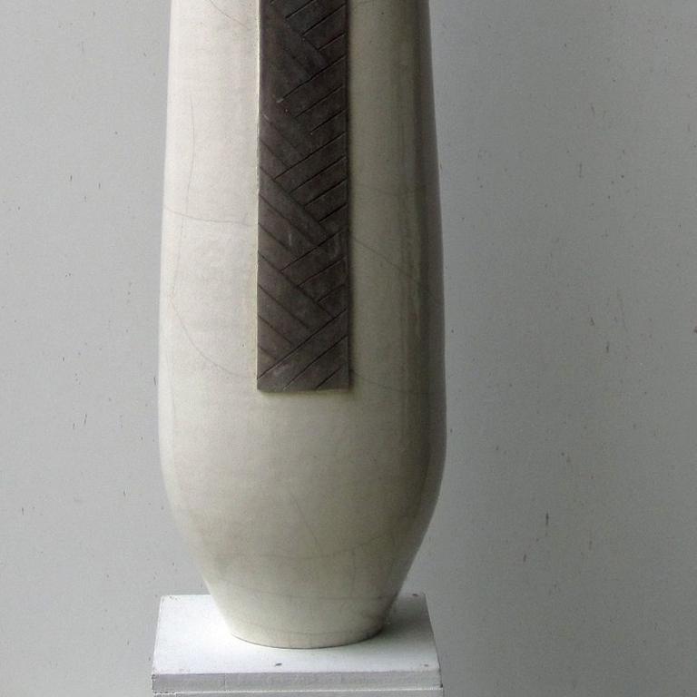 White Totem by Tien Wen - Abstract Ceramic Sculpture, raku, black & white For Sale 2