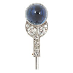 Cartier Tie Pin, Cabochon Sapphire & Diamonds in Platinum, French circa 1910