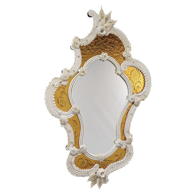 Tiepolo Murano Glass Mirror For Sale