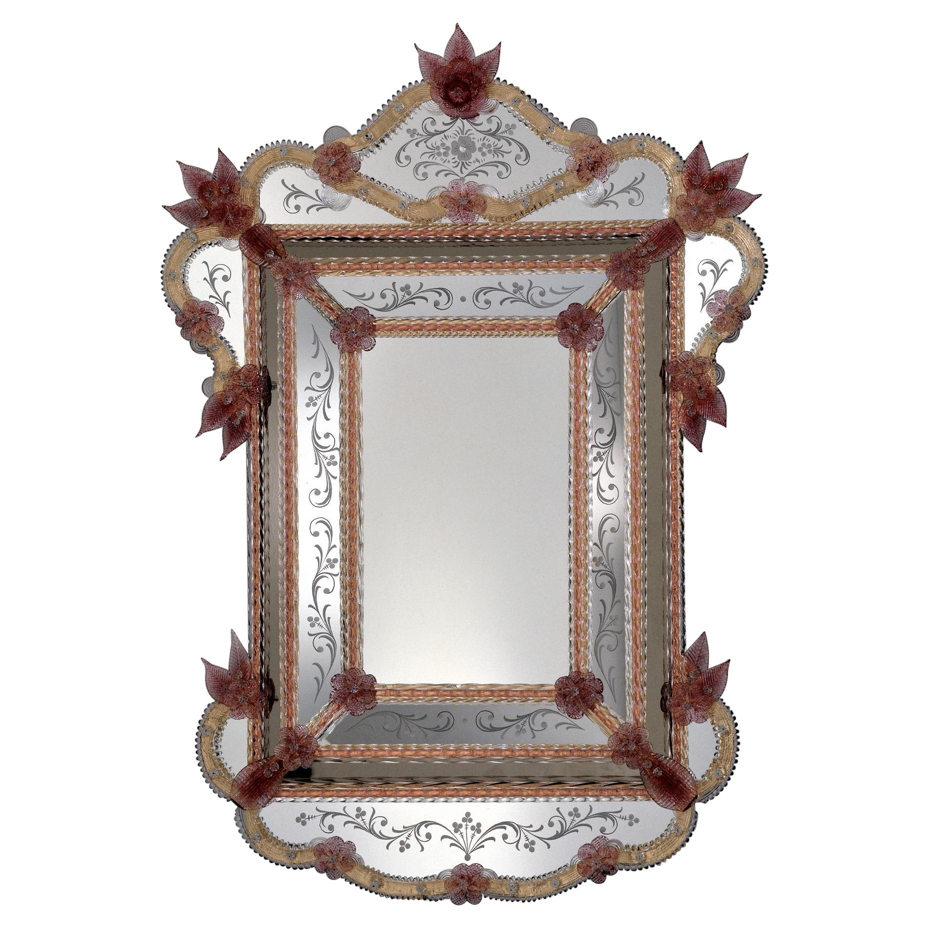 """""""Tiepolo"""", Murano Glass Mirror in Venetian Style by Fratelli Tosi, Made in Italy"""