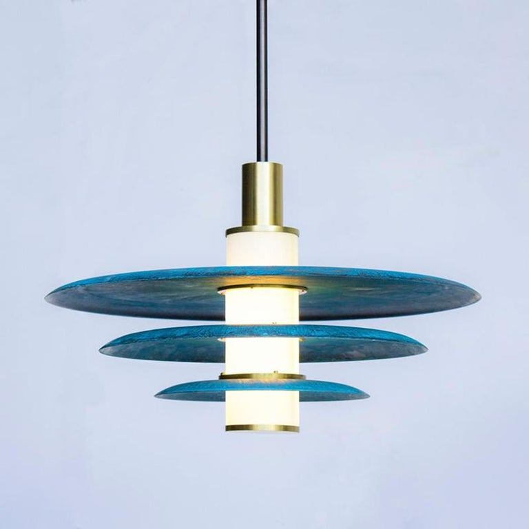 Hand-Crafted Tiered Arthur Pendant in Prussian Blue, White Glass and Satin Brass Details For Sale