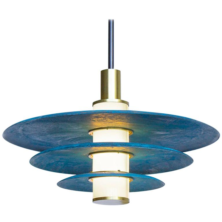 Tiered Arthur Pendant in Prussian Blue, White Glass and Satin Brass Details For Sale