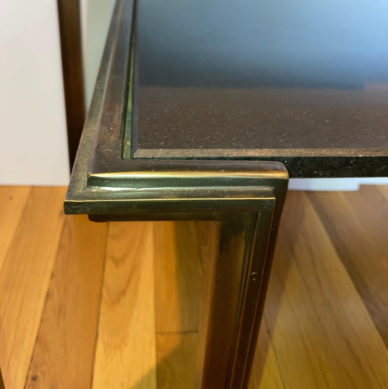 Tiered Bronze and Stone Side Table, Manner of Jules Bouy For Sale 1
