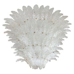 Tiered Frosted Glass Leaf Chandelier