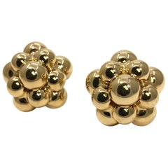 Tiered Gold Ball Cluster Design Italian Earrings