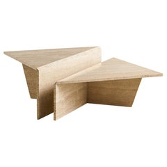 Tiered Two-Piece Travertine Coffee Table