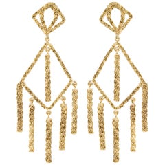 Tiered Yellow Gold Dangling Earrings