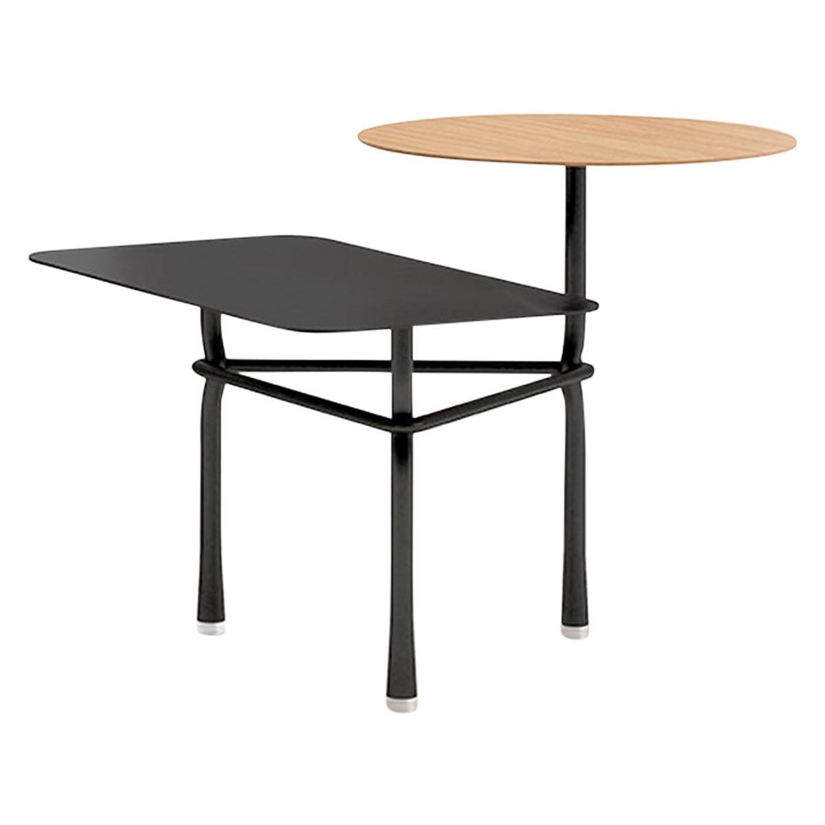 Tiers Table, Matt Oak and Black Finish by Patricia Urquiola