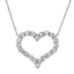 Tiffany & Co. 1.96 Carat Diamond Heart Platinum Pendant Necklace