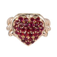 Tiffany & Co. 2.50 Carat Ruby Heart Locket Rose Gold Cocktail Ring