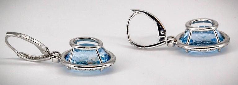 Women's Tiffany & Co. Aquamarine Diamond and Platinum Earrings For Sale