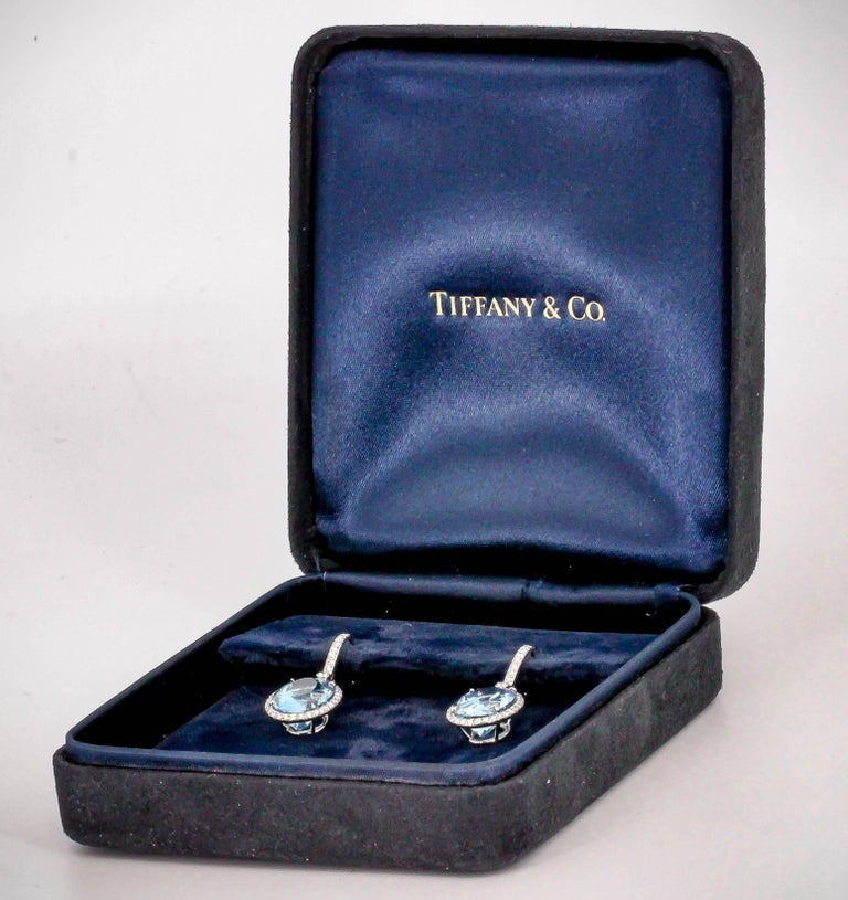 Tiffany & Co. Aquamarine Diamond and Platinum Earrings For Sale 3