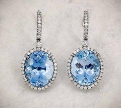 TIFFANY & CO. Aquamarine Diamond and Platinum Earrings
