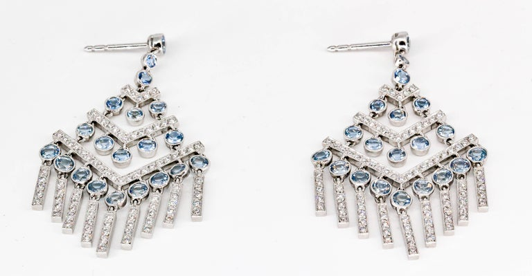 Tiffany & Co. Aquamarine Diamond Platinum Chandelier Earrings In Excellent Condition For Sale In New York, NY