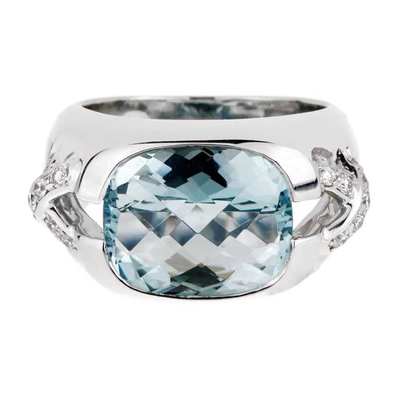 Tiffany & Co. Aquamarine Diamond White Gold Ring For Sale