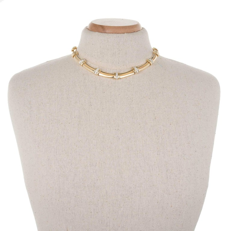 Tiffany & Co. Atlas 1.00 Carat Diamond Gold Platinum Necklace In Good Condition For Sale In Stamford, CT