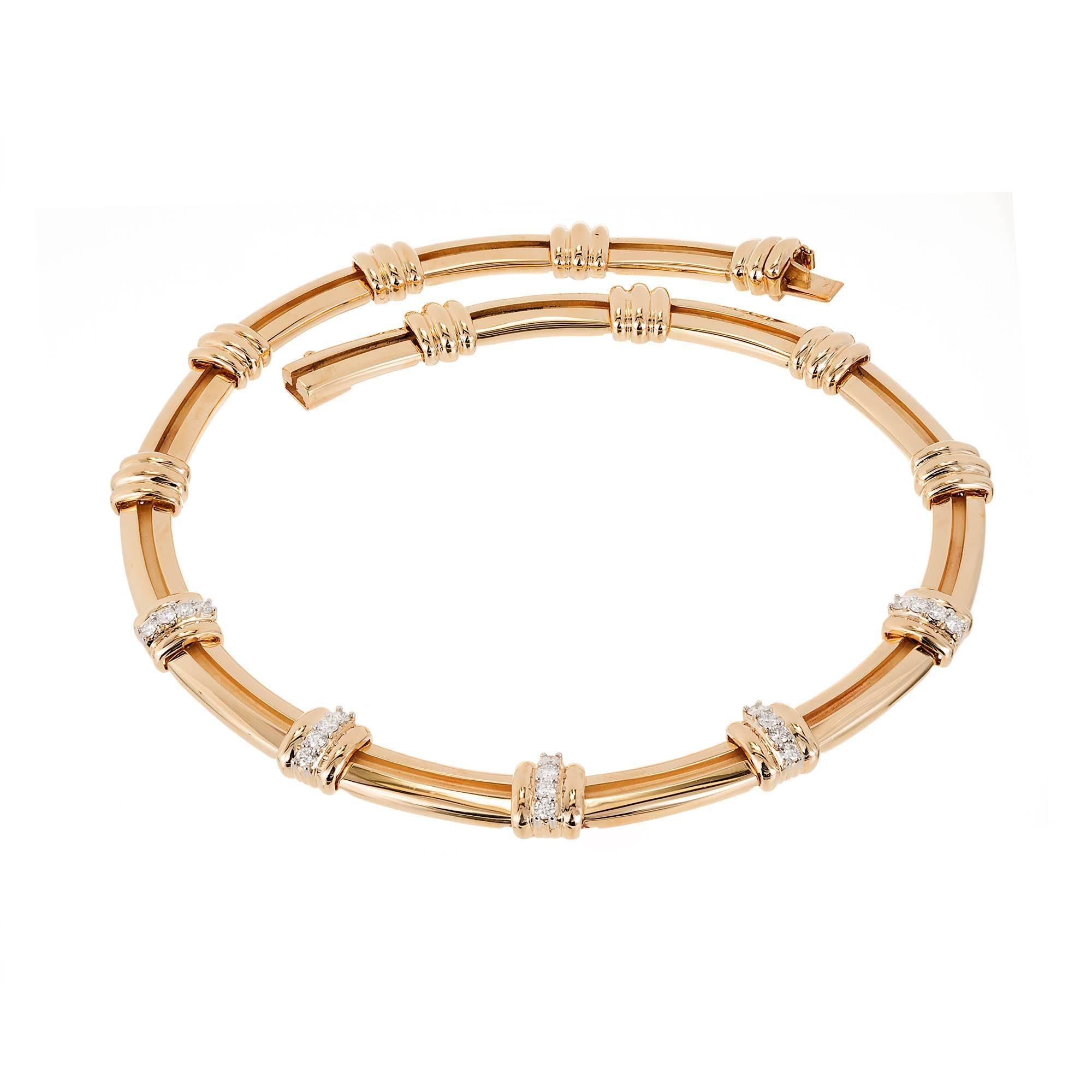 Tiffany & Co. Atlas 1.00 Carat Diamond Gold Platinum Necklace