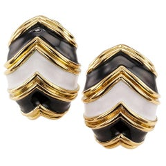 Tiffany & Co. Black and White Enamel Clip-On Earrings