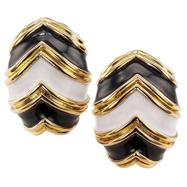 Tiffany & Co. Black and White Enamel Clip-On Earrings