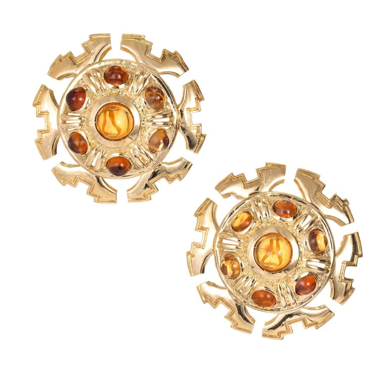 Tiffany & Co. Citrine Cabochon Gold Clip Post Dome Earrings