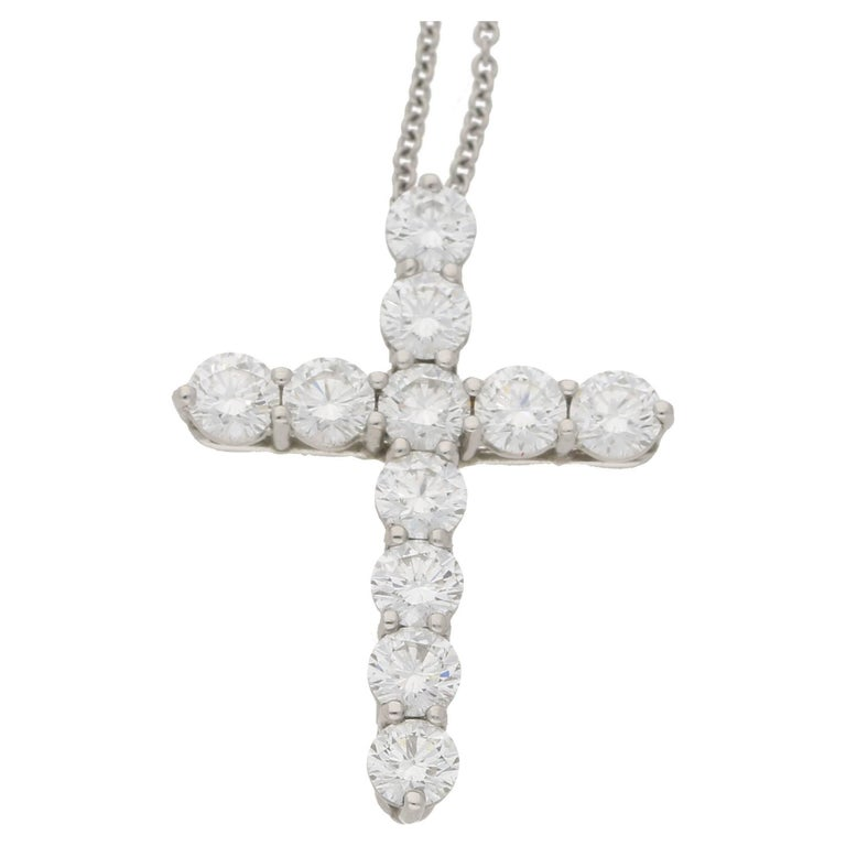 Tiffany & Co. Diamond Cross Platinum Pendant