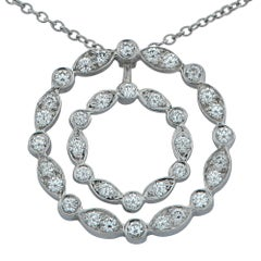 Tiffany & Co. Diamond Double Swing Diamond Platinum Pendant